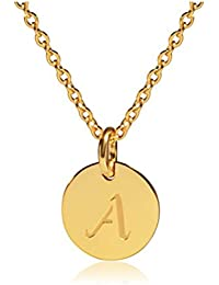 "Stainless Steel 18k Gold Tone Small Initial Necklace Alphabet 0.4"" Disc Pendant Necklace 18"""