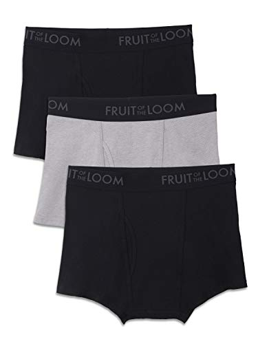 Cotton Mens Leg Shorts - Fruit of the Loom Men's Breathable Underwear, Cotton Mesh - Black/Gray - Short Leg Boxer Brief, Large