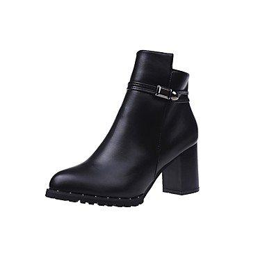 De Zapatos Otoño Talón Puntera EU36 Botas Mujer Casual Marrón UK4 Negro Redonda Combate CN36 US6 RTRY Botas Pu De Gris Cremallera Para Chunky Fqdx5qwv
