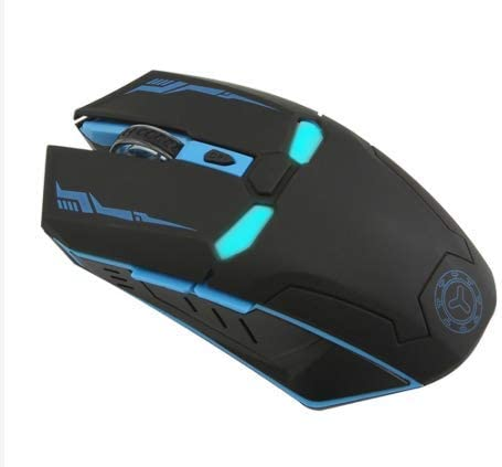 HAMISS LED Man Wireless Mouse Gaming Ergonomic Gamer Mute Button Silent Optical Click 6 Buttons 1600 DPI Computer Mice for Laptop PC Desktop Black