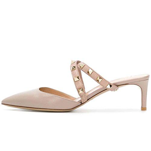 Ayercony Rivet Shoes, Rockstud Sandal Slides Cross Strap Mules Kitten Heel Mule Slipper Pointed Toe Mule Shoes for Dress Nude Size 8 US ()