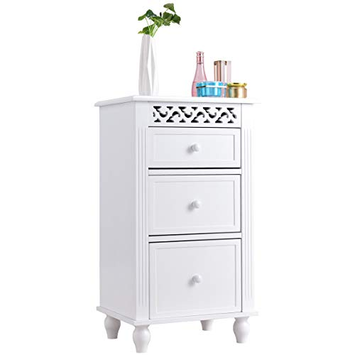 Giantex Storage Floor Cabinet W/ 3 Drawers Wood Bathroom Cupboard Organizer Kitchen Collection Cabinet Shelf Nightstand Beside End Table White (3 Drawers)