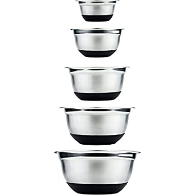Stainless Steel Mixing Bowls Set of 5 for Kitchen Ingredients by Cozyna, Anti Slip Base