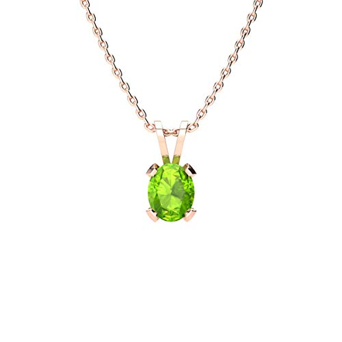 (3/4 Carat Oval Shape Peridot Necklace In Rose Gold Over Sterling Silver, 18 Inches)
