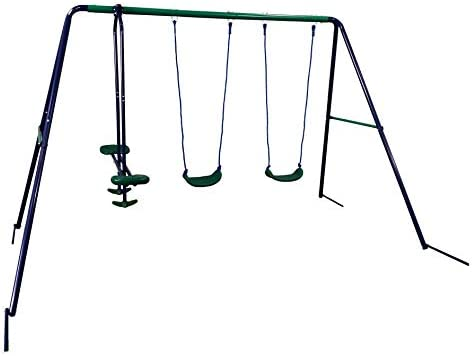 ALEKO BSW05 Outdoor Sturdy Child Swing Set with 2 Swings and 1 Glider – Blue and Green