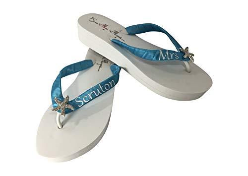 Ladies Decorated Embellished 1-14 Wedge Flip Flops Cornflower Blue M 78