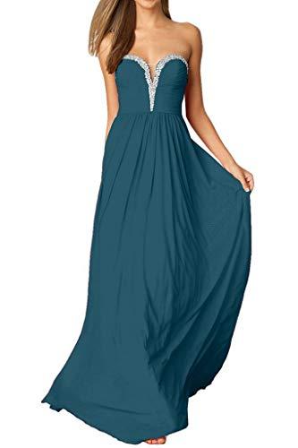 Abschlussballkleider mia Promkleider Blau Tinte Lang Abendkleider Pailletten La Herrlich Braut Linie A Herzausschnitt qw1YRTd