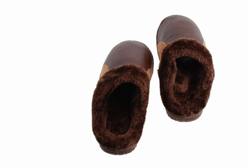 Colorfulworldstore PU leather waterproof Plush cotton slippers shoes-women&man's plush snow boots home shoes Man-Coffee 6UEbCgUIzo