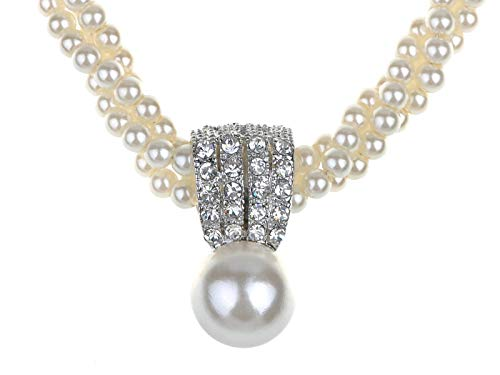 Alilang White Luster Faux Mother of Pearl Oceanic Victorian Regal Class Crystal Element Necklace