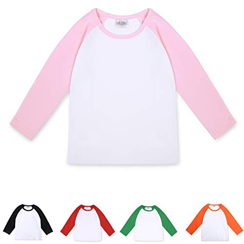 CloudCreator Toddler Raglan Shirts Baby Girls Boys Long Sleeve T-Shirt Baseball Tee Cotton Shirt for Unisex Kids Pink