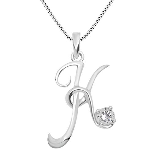 - JewelExclusive Sterling Silver .05 cttw White Diamond Initial K Pendant