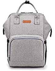 Diaper Bag Backpack, Large Baby Bag, Comes With Diaper Mat Multi-functional Travel Back Pack, Anti-Water Maternity Nappy Bag Changing Bags with Insulated Pockets Stroller Straps and Built-in USB Charging Port, Gray