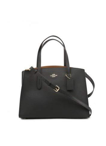 (COACH Women's Polished Pebble Leather Charlie Carryall Li/Black One Size )