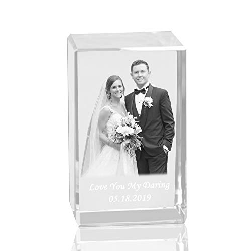 Qianruna Personalised Custom 2D/3D Laser Engraving Photo Crystal Cube Etched Glass Picture Block Paperweight for Wedding and Birthday -