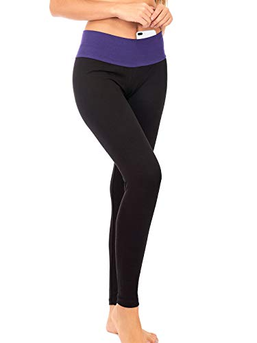 DEAR SPARKLE Yoga Leggings for Women with Contrasting Color Waistband | Casual Active Loungewear with Hidden Pocket (C12) (Purple, Small)