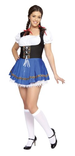 [Roma Costume 1 Piece Serving Wench, Blue, Medium/Large] (Dirndl Costume)