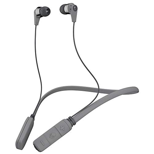 (Skullcandy Ink'd Bluetooth Wireless Earbuds with Microphone, Noise Isolating Supreme Sound, 8-Hour Rechargeable Battery, Lightweight with Flexible Collar, Street/Gray/Chrome)