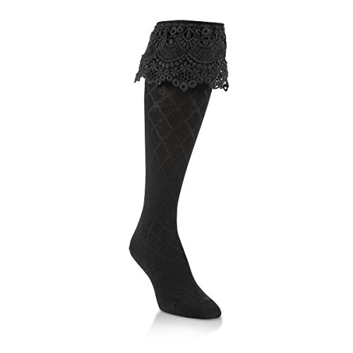 World's Softest Womens Weekend Collection Sassy Lace Style Knee High Socks (Black)