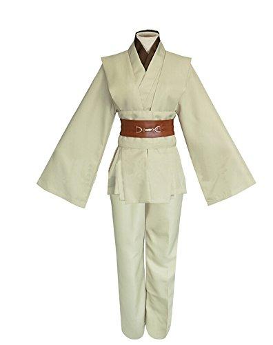 Men TUNIC Hooded Robe Cloak Knight Fancy Cool Cosplay Costume, Ivory,(No Cloak), (Costume Cloak)