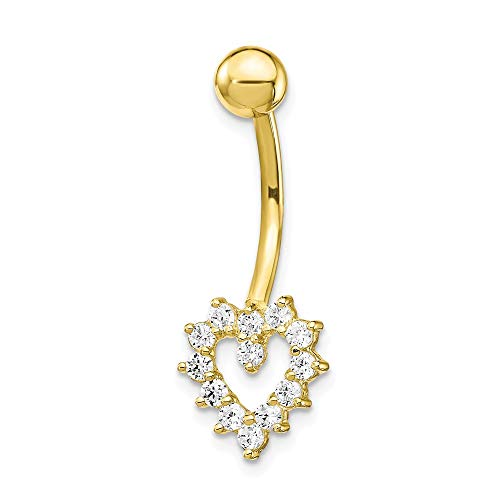 10k Yellow Gold Cubic Zirconia Cz Heart Belly Button Rings Screw Navel Bars Body Piercing Naval Fine Jewelry Gifts For Women For Her ()
