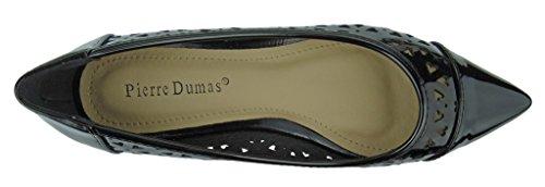 Pierre Dumas Scarpe Slip-on Da Donna Abby-13 Scarpe In Pelle Verniciata Vegana Scarpe Stringate Punta A Punta Scarpe Nere