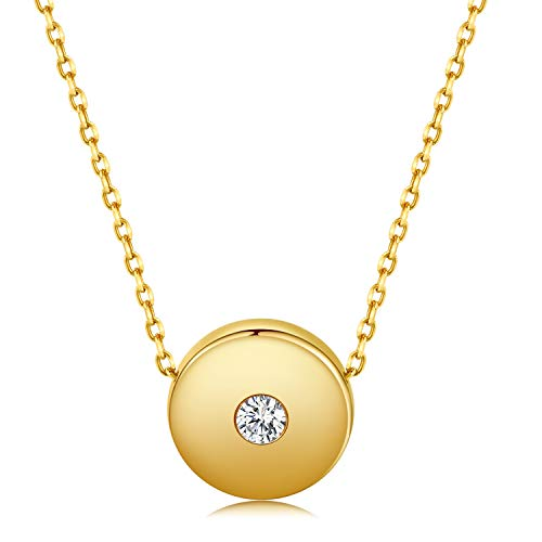 JORA Minimalism Dot Necklace 18K Yellow Gold Plated Sterling Silver Pendant Necklace for Women