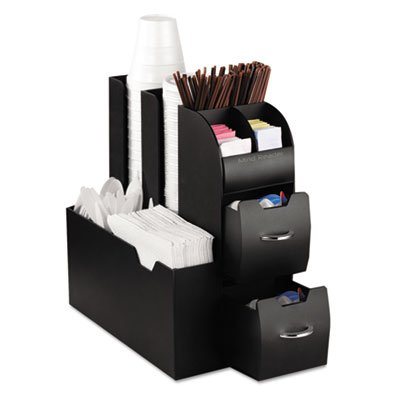 Compact, all-in-one unit features two drawers and several storage compartments for organizing single-serve coffee pods, coffee condiments and various
