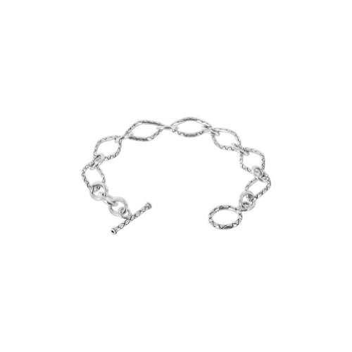 (Gem Avenue Lattice Pattern 925 Sterling Silver Oval Shape Link Toggle Clasp Bracelet Size 7)