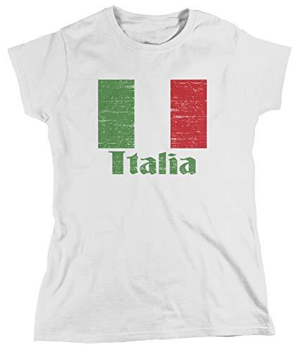 Amdesco Women's Flag of Italia, Italian Italy Flag T-Shirt, White Small