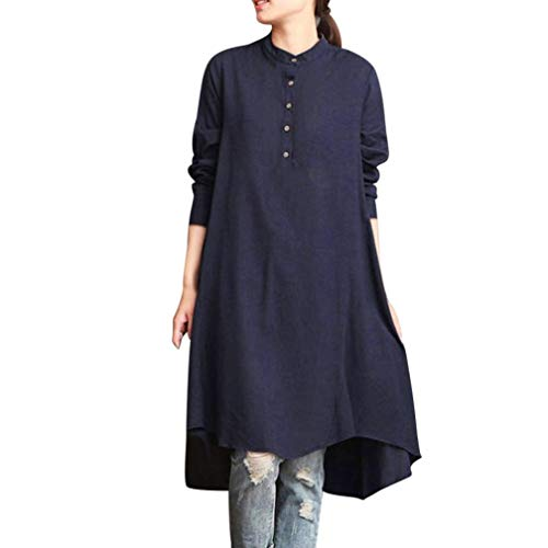 EISHOW Women Cotton Linen Long Sleeve Loose Solid Blouse Plus Size Long Tunic Swing Top Shirt Baggy Pullover (Navy, -