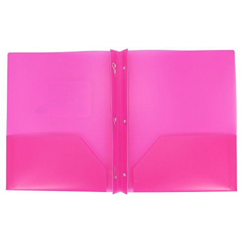 Hot File (Plastic Folder with Prongs 2 Pocket - (HOT Pink))