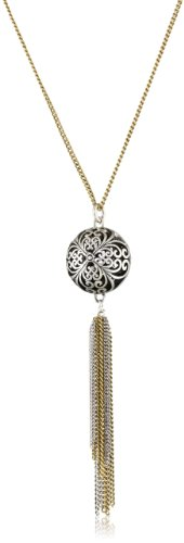 Two Tone Openwork - Lucky Brand Women's Silver Openwork Tassle Necklace Two Tone Pendant Necklace