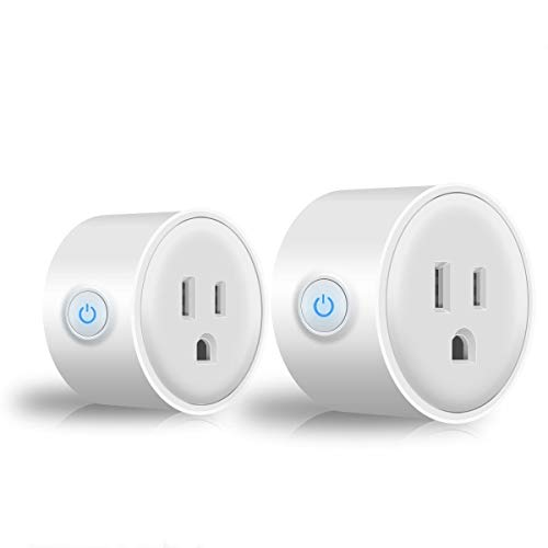 Sockets Wi-Fi Smart Plug, Mini Outlets Smart Socket No Hub Required Timing Function Control Your Electric Devices from Anywhere Compatible with Alexa and Google White 2 Pack