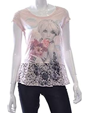 Guess Crushed Lace Peplum Tee