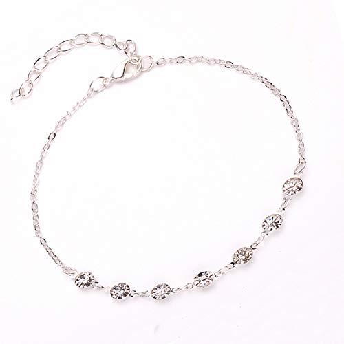 (Elaco Silver Ankle Bracelet Women Anklet Adjustable Chain Foot Beach Jewelry (A))
