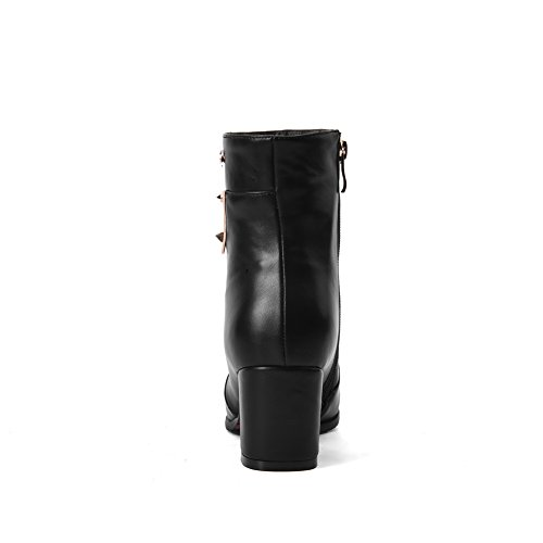Heels Blend Boots Materials Toe Solid Zipper Black Closed Round Women's WeiPoot Kitten H5Zqnvq8