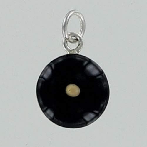 - Real Mustard Seed Charm Black with Sterling Silver for Bracelet Yellow Round - Jewelry Accessories Key Chain Bracelets Crafting Bracelet Necklace Pendants