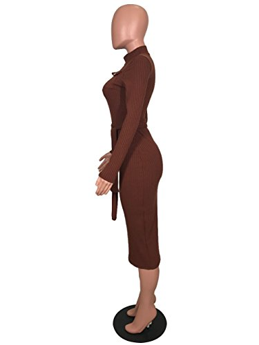 Womens Pencil Dress Pockets Remelon Turtleneck Belt with Bodycon Party Long Midi Cocktail Front Brown Sleeve gwwHqxU