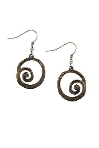KARMAS CANVAS ANTIQUE CIRCLE SPIRAL OUTLINE DROP EARRINGS (Antique Copper) (Avon Freshwater Earrings)