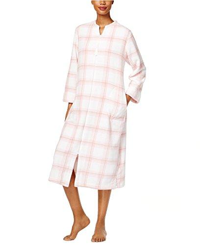 Miss Elaine Plush Zip-Front Long Bathrobe (Pink, - Elaine Miss Front Zip