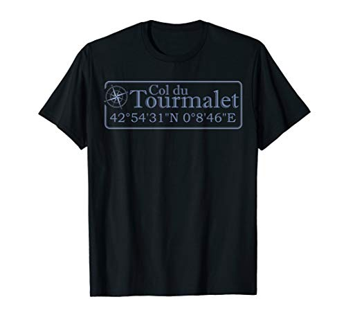 Tour De France Map - Col du Tourmalet Cycling Tour Bicycle Gift French Pyrenees  T-Shirt