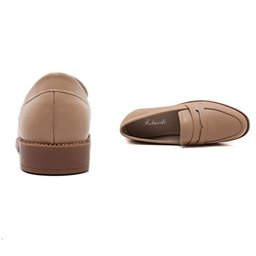 T-JULY Women Casual Slip-On Breathable Soft Retro Round Toe Low Heels Loafer Shoes Brown C9Oc3c