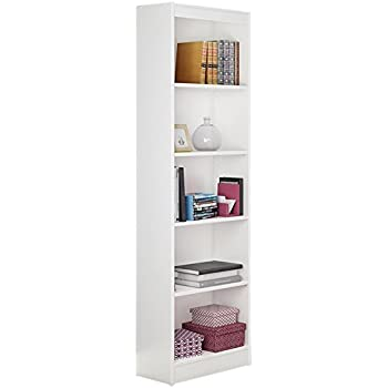 South Shore Jazz 5 Tier Open Narrow Bookcase 72 Inch White