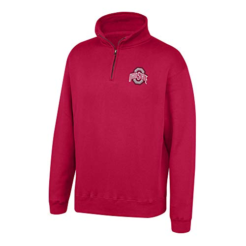 Top of the World NCAA Men's Ohio State Buckeyes Team Color Classic Quarter Zip Pullover True Red Large (Plain Quarter Zip Pullover)