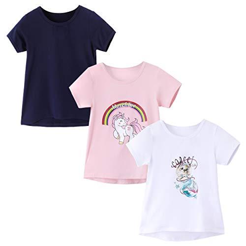 IRELIA 3 Pack Girls Crew Neck Tee Short Sleeve Shirts Regular NaPi511Wh512 XXS (Short Regular Tee Sleeve)