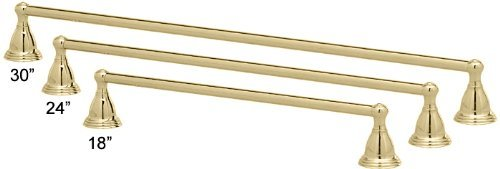 Westbrass 1 x 24 Towel Bar with Bishop Wall Mounts, Polished Brass