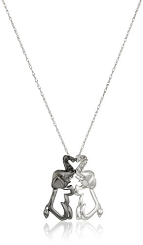 10k Gold Black and White Elephant Couple Diamond Pendant Necklace (.04 cttw, I-J Color, I2-I3 Clarity), 18""