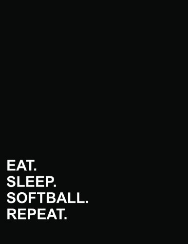 Eat Sleep Softball Repeat: Five Column Ledger Cash Book, Accounting Ledger Notebook, Business Ledger Book, 8.5