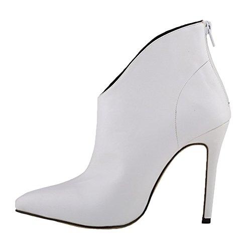 HooH Damen Stiefeletten Reißverschluss Spitze Zehe High Heel Kurze Stiefel Weiß