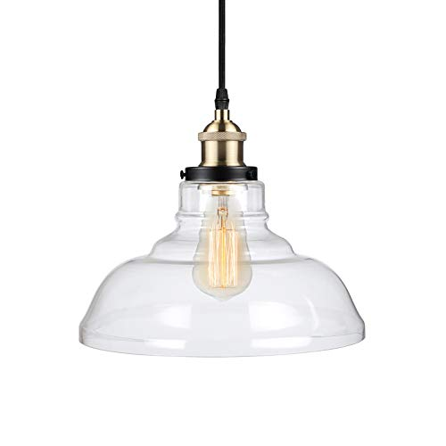 Ascher Industrial Edison Vintage Pendant Light, Clear Glass Shade 1-Light Ceiling Light Fixture, Antique Brass Brushed E26 Socket, 66.9'' Adjustable Cord, Diameter 9.84''(1 Light Bulb Included)